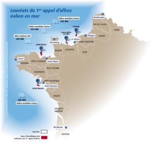 Overzicht offshore windmolen sites. Bron: Ministère de l'Economie