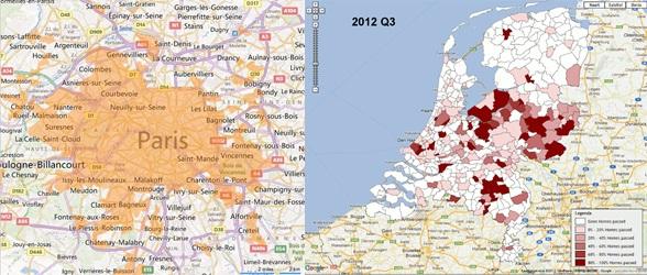De situatie rondom Parijs en de Nederlandse situatie in 2012 - aangegeven is waar het mogelijk is om FttH-verbindingen aan te leggen in Parijs, en waar FttH-verbindingen liggen in Nederland