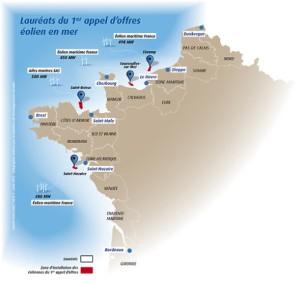 Kaart toekomstige windparken voor de Franse kust