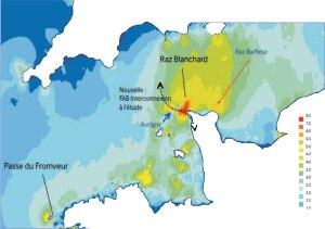 Kaart met de grote stromingsgebieden voor de Franse kust van Normandië en Bretagne