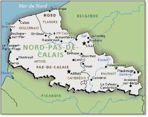 Kaart van de regio Nord-Pas de Calais