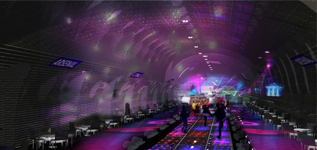Impressie van het spookstation project. Nacht > Beeld door OXO Architectes en Laisné Architecte