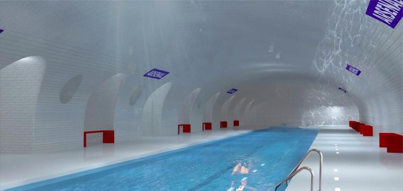 Impressie van het spookstation project. Zwembad > Beeld door OXO Architectes en Laisné Architetcte