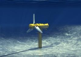 Alstom Oceade stromingsturbine met onderzeese mast (Bron: Alstom)