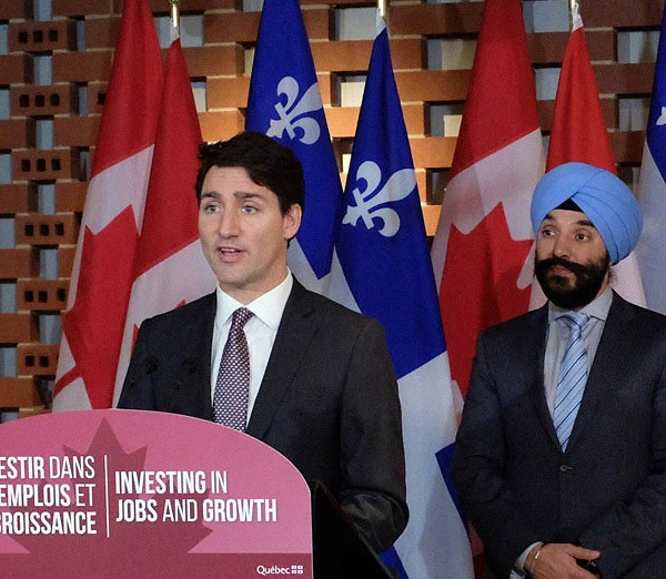 Justin Trudeau and Navdeep Bains at G7 conference